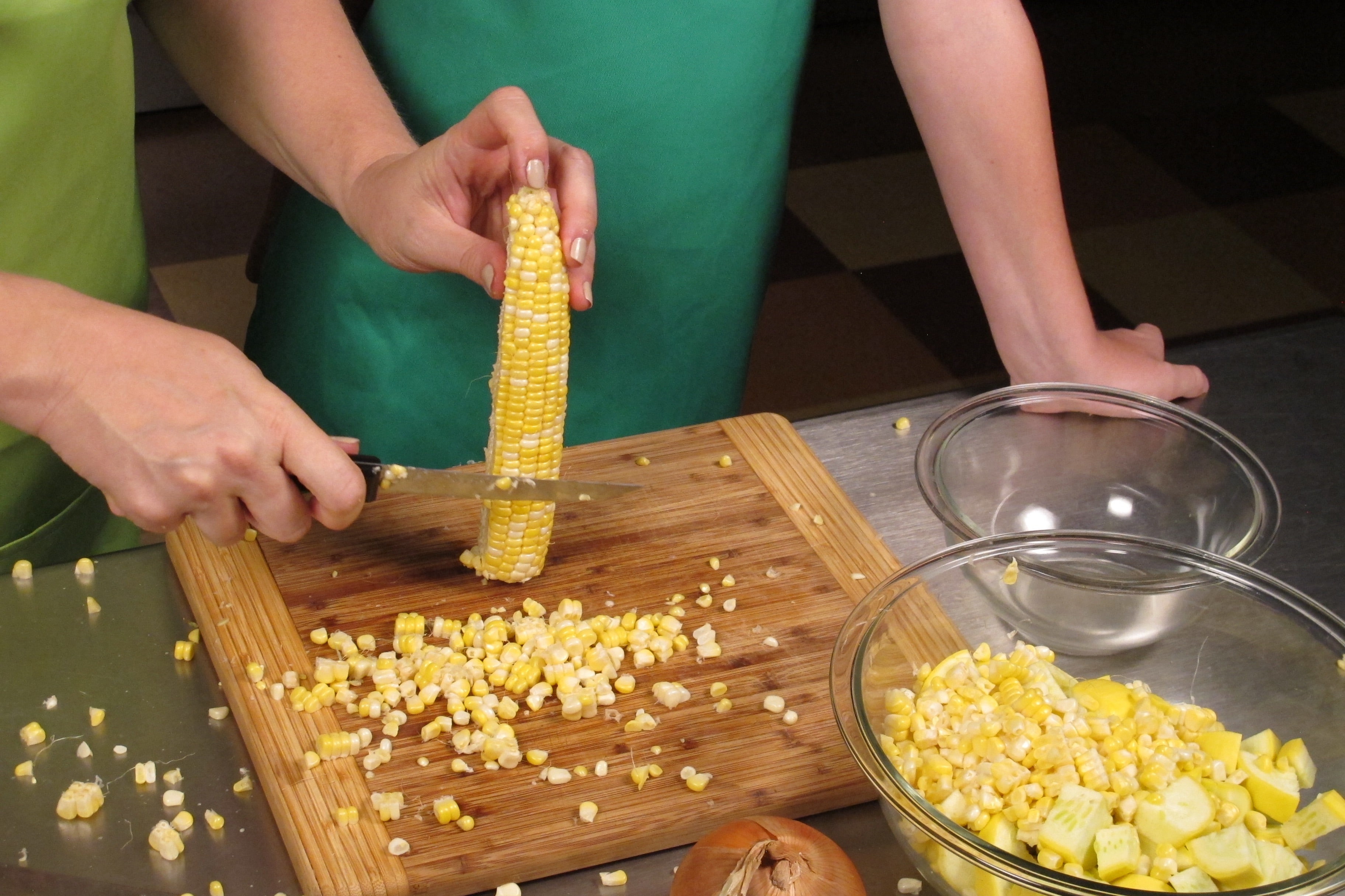 If using fresh corn-on-the-cob, have an adult or experienced slicer remove the kernels.